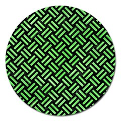 Woven2 Black Marble & Green Watercolor Magnet 5  (round)