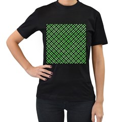 Woven2 Black Marble & Green Watercolor Women s T Shirt (black) (two Sided)
