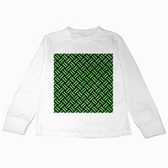 Woven2 Black Marble & Green Watercolor Kids Long Sleeve T Shirts