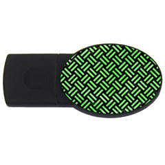 Woven2 Black Marble & Green Watercolor Usb Flash Drive Oval (4 Gb)