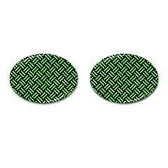 Woven2 Black Marble & Green Watercolor Cufflinks (oval)