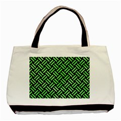 Woven2 Black Marble & Green Watercolor Basic Tote Bag