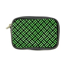 Woven2 Black Marble & Green Watercolor Coin Purse