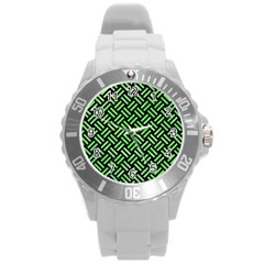 Woven2 Black Marble & Green Watercolor Round Plastic Sport Watch (l)