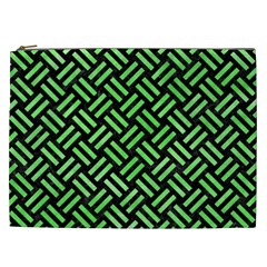 Woven2 Black Marble & Green Watercolor Cosmetic Bag (xxl)