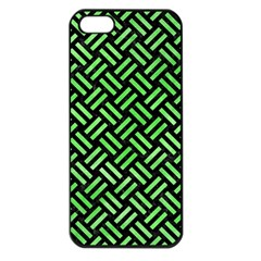 Woven2 Black Marble & Green Watercolor Apple Iphone 5 Seamless Case (black)