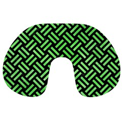 Woven2 Black Marble & Green Watercolor Travel Neck Pillows