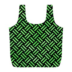 Woven2 Black Marble & Green Watercolor Full Print Recycle Bags (l)