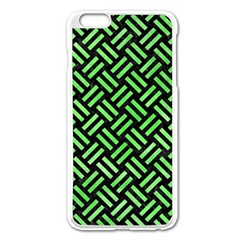 Woven2 Black Marble & Green Watercolor Apple Iphone 6 Plus/6s Plus Enamel White Case