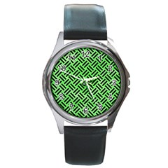 Woven2 Black Marble & Green Watercolor (r) Round Metal Watch