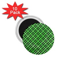 Woven2 Black Marble & Green Watercolor (r) 1 75  Magnets (10 Pack)