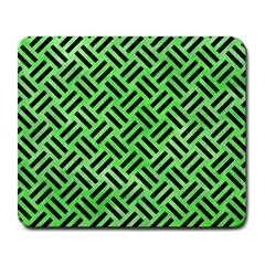 Woven2 Black Marble & Green Watercolor (r) Large Mousepads