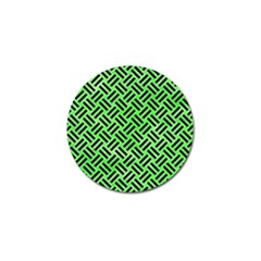 Woven2 Black Marble & Green Watercolor (r) Golf Ball Marker