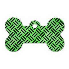 Woven2 Black Marble & Green Watercolor (r) Dog Tag Bone (two Sides)