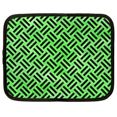 Woven2 Black Marble & Green Watercolor (r) Netbook Case (xl)