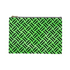 Woven2 Black Marble & Green Watercolor (r) Cosmetic Bag (large)
