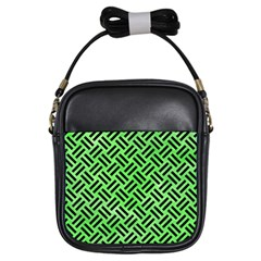 Woven2 Black Marble & Green Watercolor (r) Girls Sling Bags