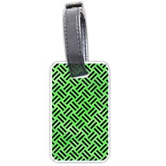 Woven2 Black Marble & Green Watercolor (r) Luggage Tags (one Side)