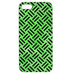 Woven2 Black Marble & Green Watercolor (r) Apple Iphone 5 Hardshell Case With Stand