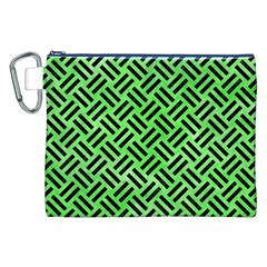 Woven2 Black Marble & Green Watercolor (r) Canvas Cosmetic Bag (xxl)