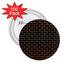 Brick1 Black Marble & Light Maple Wood 2 25  Buttons (100 Pack)