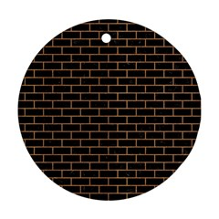 Brick1 Black Marble & Light Maple Wood Round Ornament (two Sides)