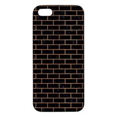 Brick1 Black Marble & Light Maple Wood Iphone 5s/ Se Premium Hardshell Case