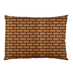 Brick1 Black Marble & Light Maple Wood (r) Pillow Case (two Sides)