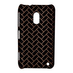 Brick2 Black Marble & Light Maple Wood Nokia Lumia 620