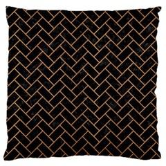 Brick2 Black Marble & Light Maple Wood Large Flano Cushion Case (two Sides)