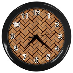 Brick2 Black Marble & Light Maple Wood (r) Wall Clocks (black)
