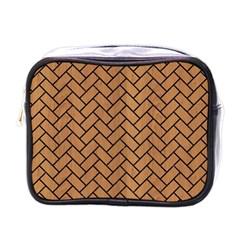 Brick2 Black Marble & Light Maple Wood (r) Mini Toiletries Bags