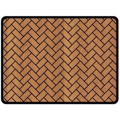Brick2 Black Marble & Light Maple Wood (r) Fleece Blanket (large)
