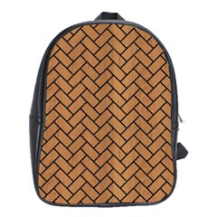 Brick2 Black Marble & Light Maple Wood (r) School Bag (xl)