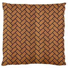 Brick2 Black Marble & Light Maple Wood (r) Large Flano Cushion Case (one Side)