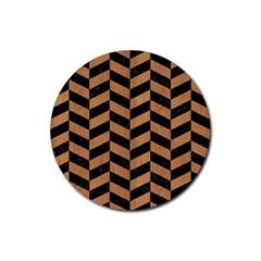 Chevron1 Black Marble & Light Maple Wood Rubber Coaster (round)