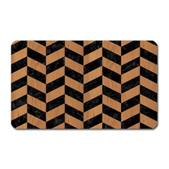 Chevron1 Black Marble & Light Maple Wood Magnet (rectangular)