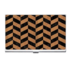 Chevron1 Black Marble & Light Maple Wood Business Card Holders