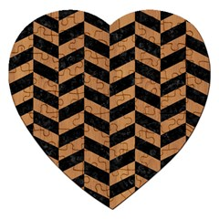 Chevron1 Black Marble & Light Maple Wood Jigsaw Puzzle (heart)