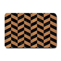 Chevron1 Black Marble & Light Maple Wood Small Doormat