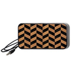 Chevron1 Black Marble & Light Maple Wood Portable Speaker