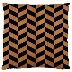 Chevron1 Black Marble & Light Maple Wood Large Cushion Case (one Side)