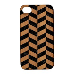 Chevron1 Black Marble & Light Maple Wood Apple Iphone 4/4s Hardshell Case With Stand