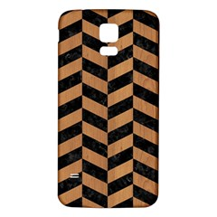 Chevron1 Black Marble & Light Maple Wood Samsung Galaxy S5 Back Case (white)