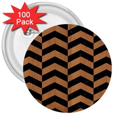 Chevron2 Black Marble & Light Maple Wood 3  Buttons (100 Pack)