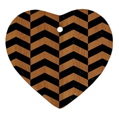 Chevron2 Black Marble & Light Maple Wood Heart Ornament (two Sides)