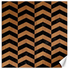 Chevron2 Black Marble & Light Maple Wood Canvas 16  X 16