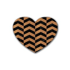 Chevron2 Black Marble & Light Maple Wood Rubber Coaster (heart)