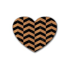 Chevron2 Black Marble & Light Maple Wood Heart Coaster (4 Pack)