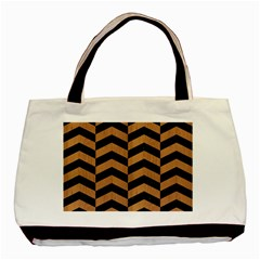 Chevron2 Black Marble & Light Maple Wood Basic Tote Bag (two Sides)